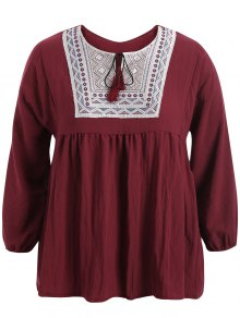 Plus Size Embroidered Long Sleeves Peasant Top - Wine Red Xl