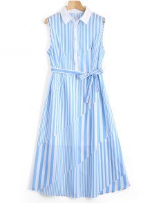 Sleeveless Half Buttoned Stripes Shirt Dress - Stripe M