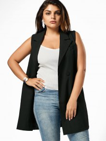 Lapel Plus Size Longline Waistcoat - Black 2xl