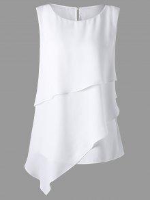 Plus Size Overlay Sleeveless Asymmetrical Top - White Xl
