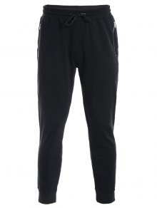 Zip Pockets Mens Joggers Sweatpants - Black L
