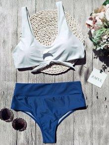 Scoop Color Block Tied Padded Bikini - White S