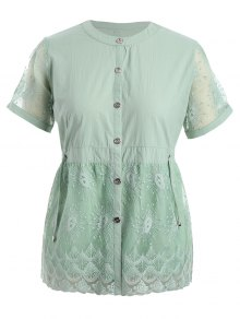 Plus Size Lace Panel Button Up Blouse - Pale Green Xl