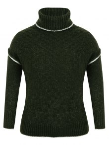 Turtle Neck Plus Size Pullover Sweater - Green