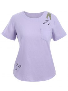 Embroidered Plus Size Top With Pocket - Light Purple Xl