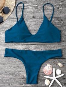 Adjustable Straps Padded Bralette Bikini Set - Blue S