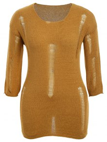 Plus Size Scoop Neck Ripped Knitwear - Earthy