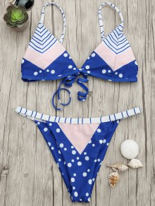 Padded Chevron Dot Print String Bikini Set - Blue And Pink S