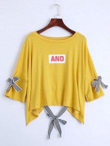 Drop Shoulder Letter Print Tee - Yellow