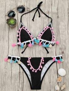 Tassels Pom Pom Padded Bikini Set - Black M