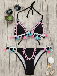 Tassels Pom Pom Padded Bikini Set - Black S