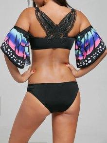 Butterfly Sleeve Crochet Back Bikini Set - Black M