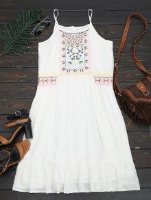 Embroidered Ruffles Midi Dress - White L