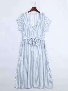 Stripes Belted Half Buttoned Midi Dress - Stripe L