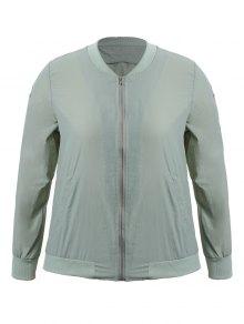 Zippered Floral Embroidered Sun Block Jacket - Light Grey 3xl