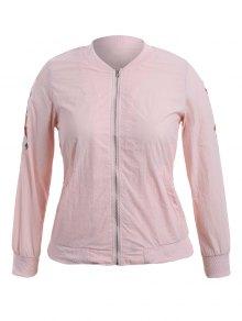 Zippered Floral Embroidered Sun Block Jacket - Pink Xl