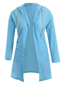 Sun Block Hooded Drawstring Longline Coat - Windsor Blue 3xl