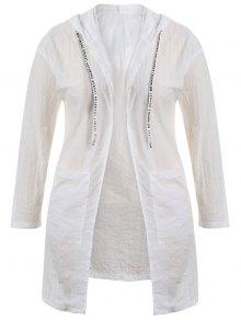Sun Block Hooded Drawstring Longline Coat - White 3xl