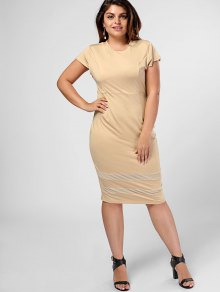Plus Size Sheer Panel Bodycon Dress - Khaki Xl