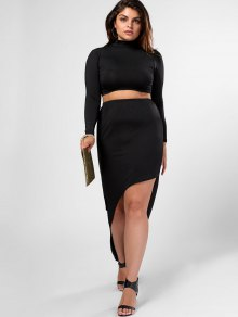 Plus Size High Neck Top And High Low Bodycon Skirt Suit - Black 2xl