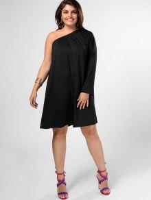 One Shoulder Plus Size Swing Dress - Black 2xl