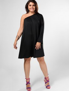 One Shoulder Plus Size Swing Dress - Black 4xl