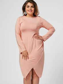 Plus Size Asymmetrical Bodycon Dress - Pink 3xl