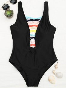 Shaping Strappy Front Plunge One Piece Swimsuit - Black M