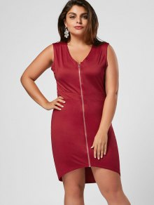 Sleeveless Zip Up Plus Size Bodycon Dress - Wine Red 4xl