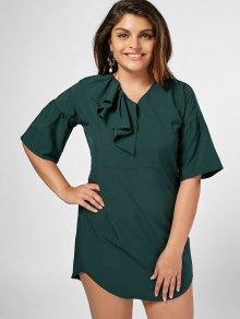 Ruffles Plus Size Shift Mini Dress - Blackish Green 4xl