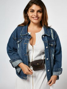 Ripped Plus Size Denim Jacket - Denim Blue 2xl