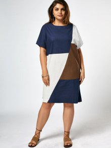 Plus Size Color Block Knee Length Dress
