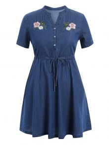 Embroidered Drawstring Plus Size Denim Dress - Denim Blue Xl