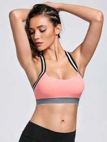Contrast Band Racerback Sports Bra - Pink L