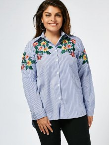 Stripes Floral Embroidered Plus Size Shirt - Stripe 3xl