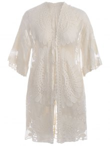 Kimono Self Tie Cover Up Dress - Off-white Xl