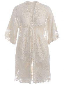Buy Plus Size Kimono Self Tie Cover Dress - OFF-WHITE 2XL
