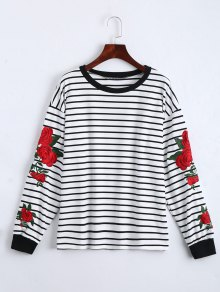 Floral Patched Striped Sweatshirt - White