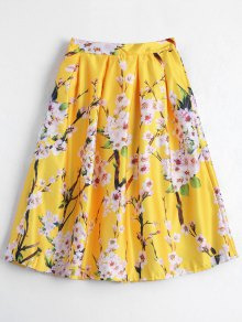 Floral Printed A Line Skirt - Yellow