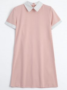 Back Zipper Two Tone Mini Dress - Pink M