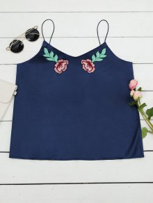 Cami Satin Floral Emnroidered Tank Top - Deep Blue M