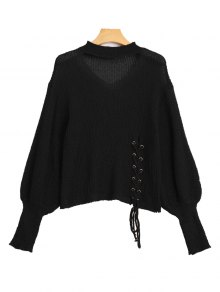 Sheer Lace Up Choker Knitwear - Black