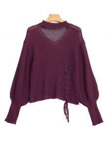 Sheer Lace Up Choker Knitwear - Purplish Red
