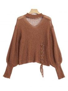 Sheer Lace Up Choker Knitwear - Light Coffee