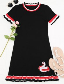 Knitted Ruffles Embroidered Mini Dress - Black