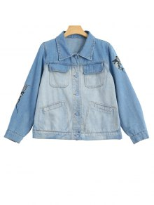 Birds Embroidered Two Tone Denim Jacket - Denim Blue L
