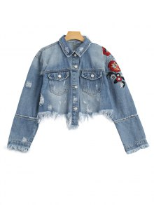 Ripped Cutoffs Floral Embroidered Denim Jacket - Denim Blue M