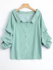 Puff Sleeve Single Breasted Striped Shirt - Stripe L