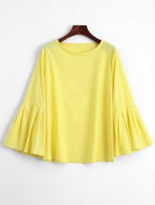 Pleated Bell Sleeve Plain Blouse - Yellow L