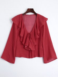 Front Tie Polka Dot Ruffles Blouse - Red L